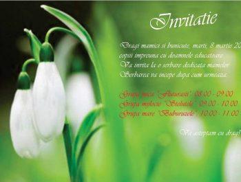 8 martie: Invitatie la serbare