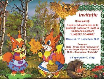 "Invitatie la serbarea traditionala ""Linistea Toamnei"""
