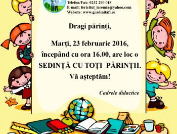 23 februarie: Sedinta cu parintii